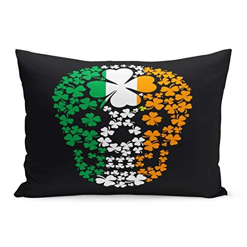 Semtomn Throw Pillow Covers Green Pirate Irish Skull Clover Vintage Halloween Ireland Satan Angel Pillow Case Cushion Cover Lumbar Pillowcase Decoration for Couch Sofa Bedding Car 20 x 36 inchs]()