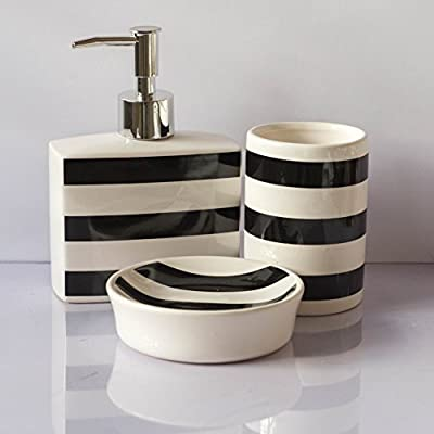 GALA HOME Set of 3 Piece Bathroom Accessories Set Includes : Decorative Countertop Soap Dispenser, Dish & Toothbrush Holder -  - bathroom-accessory-sets, bathroom-accessories, bathroom - 41CjQEJtgpL. SS400  -