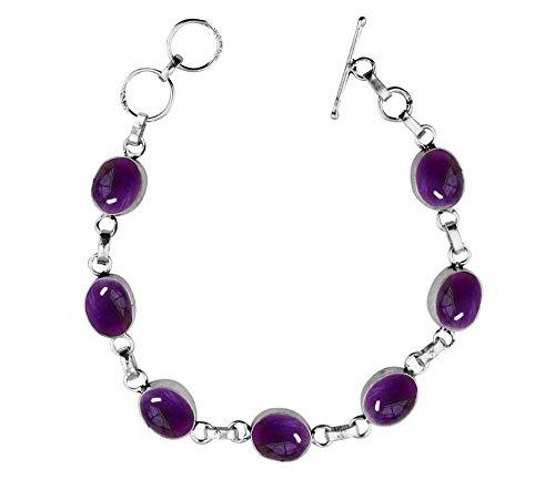 Genuine Oval Shape Amethyst Link Bracelet 925 Silver Overlay Handmade Vintage Bohemian Style Jewelry for Women Girls