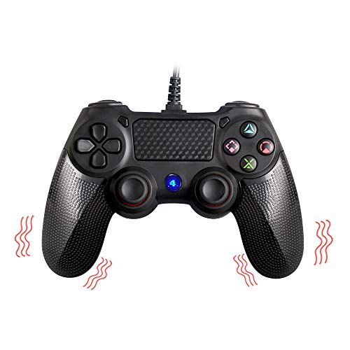 for Playstation 4, MOVONE professional usb PS4 wired gamepad for PlayStation 4/PS4 Slim/PS4 Pro and PlayStation3 wired Controller cable length 6.3ft (Black ) ()