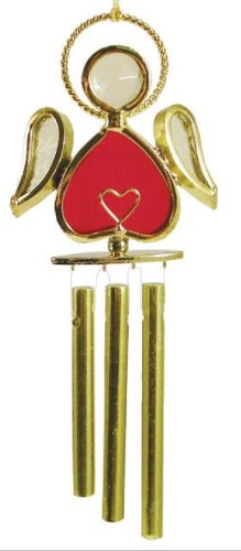 Angel W/ Heart Stained Glass Wind Chime - Red