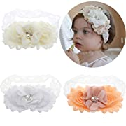 Lebo Baby Girl Lace Headbands with Bows Baby Baptism Headbands