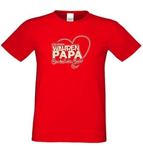 T-Shirt als Geschenk für den Vater - Motiv mit Herz - Ein Dank für den wahren Papa mit Humor zum Vatertag oder einfach so, Größe L Farbe 03-Rot