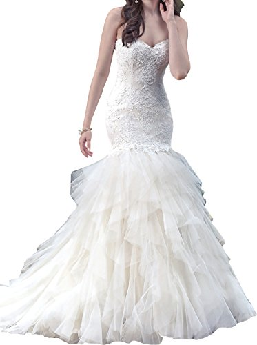 JOYNO BRIDE Strapless Tulle Applique Beading Mermaid Court Train Wedding Dresses (22, Ivory)