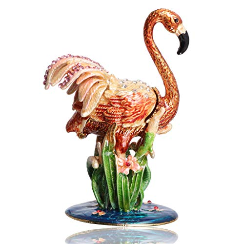 Waltz&F Flamingo in The Grass Hand-Painted Trinket Box Animal Jewelrybox Figurine Collectible Ring Holder with Gift Box