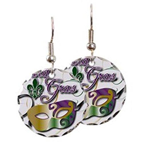CafePress - Mardi Gras - Charm Earrings with Round Pendant