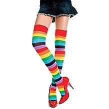 Vanker Women's Rainbow Thigh High Socks Striped Stitching Over Knee Stocking Tight