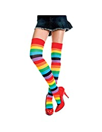 Vanker Women's Rainbow Thigh High Socks Striped Stitching Over Knee Stocking Tight