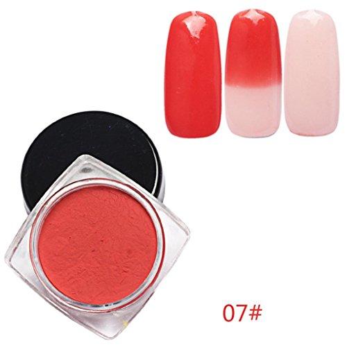 Nail Art Powder, Fheaven 12 Colors Thermochromic Thermal Change Temperature Powder Dust Gradient Nail Art - G Gradient