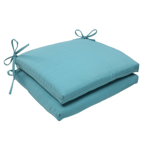 Pillow Perfect Indoor/Outdoor Forsyth Squared Seat Cushion, Turquoise, Set of 2 (Cushions Seat Outdoor Furniture For)