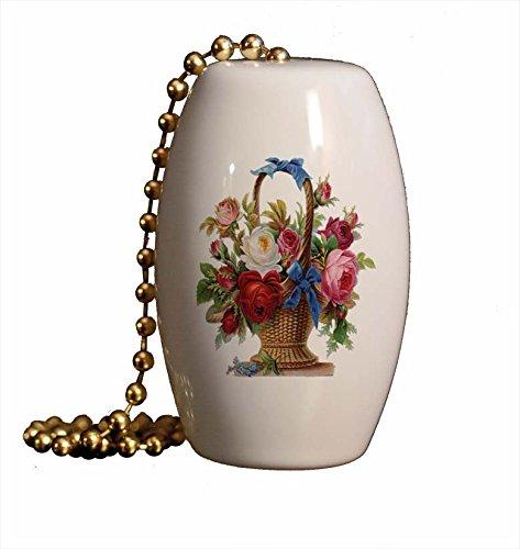 Victorian Flower Basket Porcelain Fan/Light Pull