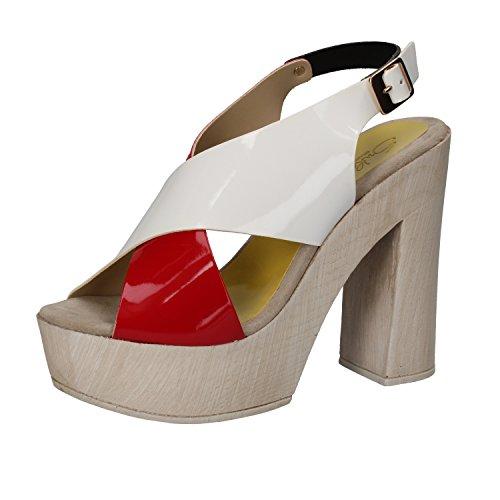 SUKY BRAND Mujer zapatos con correa blanco/rojo