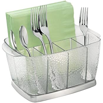 InterDesign Rain Silverware Organizer Caddy   Flatware Storage Solution For  Kitchen Countertop Or Dining Table,