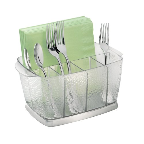 (InterDesign Rain Plastic Silverware Caddy Organizer Flatware Holder for Kitchen Countertop Storage, Dining, Outdoor Patio, Picnic Tables, Clear)