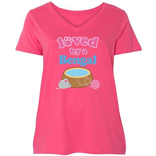 inktastic Bengal Cat Breed Owner Ladies Curvy V-Neck Tee 3 (22/24) Pink 110de