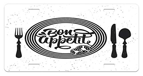 (Lunarable Bon Appetit License Plate, Cutlery and Utensils with Tomato Slices Monochrome Grunge Words, High Gloss Aluminum Novelty Plate, 5.88