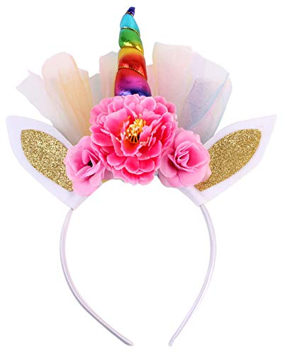 Rainbow Unicorn Headband Kids Shiny Horn Gold Ears Flower Headdress Decorative Floral Headpiece for Girls Toddlers Birthday Party Cosplay Costume
