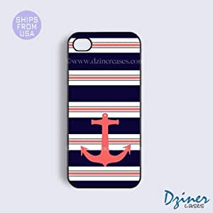 iPhone 5c Case - Blue Coral Stripes Anchor iPhone Cover