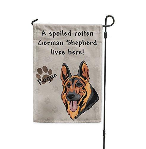 QQshiqI Spoiled Rotten GERMAN SHEPHERD DOG DOG lives here Yard House Banner Garden Flag Flag Garden Pole 8 x 11 1/2 ()