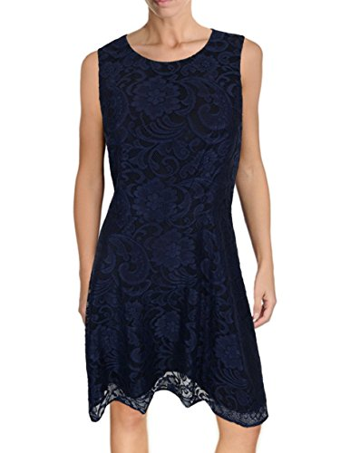 Ali Ro Silk - Ali Ro Sleeveless Fit-and-Flare Floral Lace Dress, Midnight Blue, A-Line Skirt (4)
