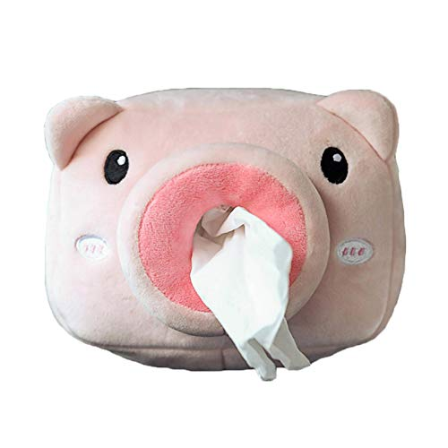 Car Tissue Holder,Cute 3D Animal Shape Car Back Seat Plush Tissue Holder with Fixed Rope, Clean Easily and Easy to Install Animal Doll Tissue Box(Pig, Giraffe, Shark, Dinosaur)