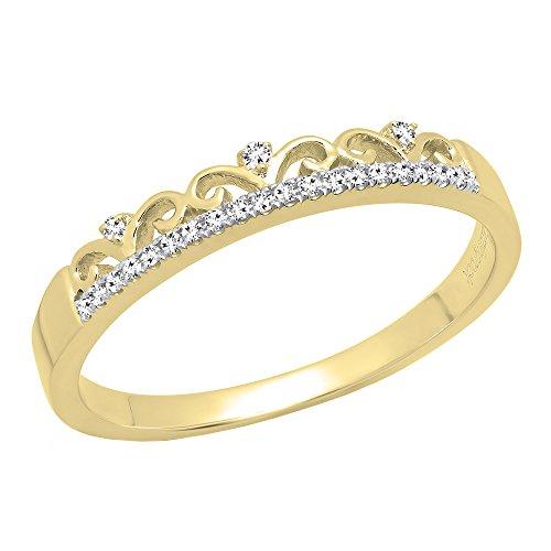 Dazzlingrock Collection 0.07 Carat (ctw) 10K Round Diamond Ladies Crown Anniversary Wedding Band, Yellow Gold, Size 7