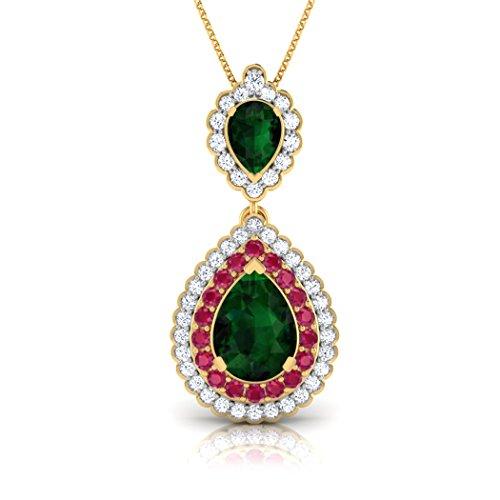 14K Or blanc 0,27CT TW Round-cut-diamond (IJ | SI) et émeraude et rubis Pendentif