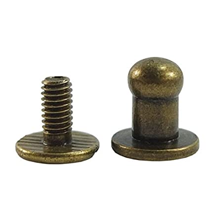 Head Button 5mm Brass Stud Screwback Screw Back Spots for Leather Rivet 100 Sets (Bronze) Generic