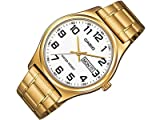 Casio #MTP-V003G-7B Men's Standard Analog Gold Tone Easy Reader Day Date Watch