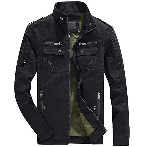 iLXHD Casual Military Lightweight Coat Windbreaker Sportswear Jackets for Men(Black,US XXL Max. /CN 6XL)