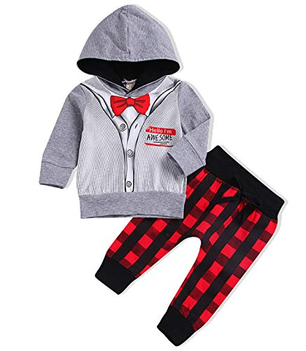 97adbbdc5 Infant Baby Boys Girls Xmas Outfits Hello I'm Awesome Long Sleeve Gentleman Hoodie  Plaid