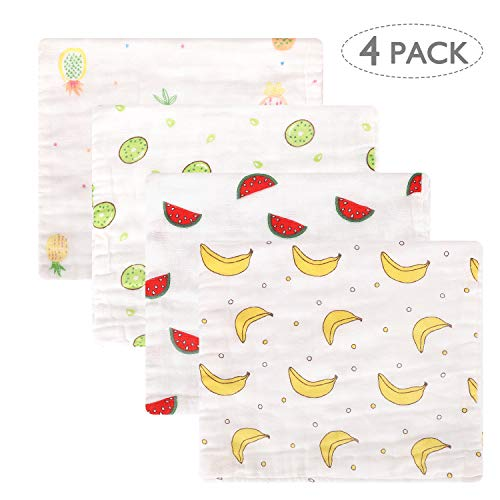 Accmor 4 Pack Burp Cloths, Muslin Burp Cloths, 100% Cotton 6 Layers Extra Absorbent and Soft Large Hand Wash Burp Cloths, Fruit Pattern