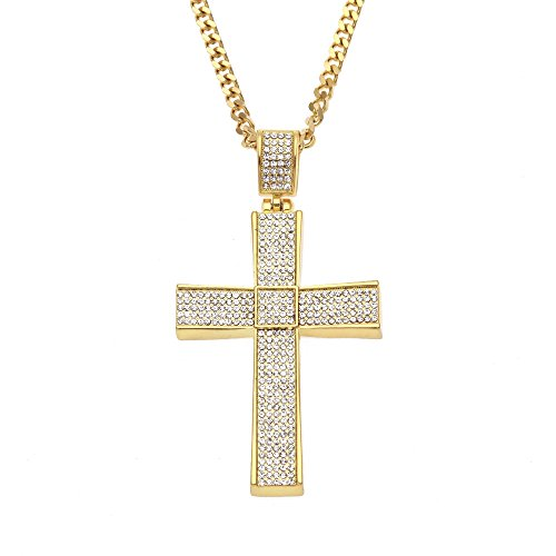 AOVR Hip Hop CUBAN Chain 14k Gold Plated CZ Fully Iced-Out Cross 316L Stainless Steel Pendant (Gold)