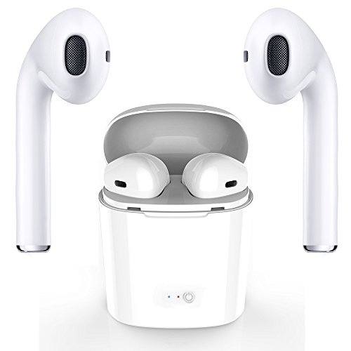 Wireless Headphone Bluetooth Headsets with Microphones Surround Sound Stereo for Running & Fitness Bluetooth 4.2 technology compatible with any phone and computer - Pure White by GJFeng Tech