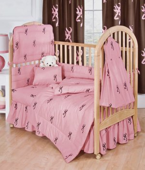 Pink Buckmark - 6 Piece Crib Set includes (Crib Fitted Sheet, Crib Bumper Pad, Crib Headboard Pad, Crib Comforter, Crib Bedskirt and Crib Diaper Stacker)- Save Big By Bundling! by Kimlor   B00EF5TH96