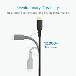 Anker Powerline II Lightning Cable (1ft), Probably The World's Most Durable Cable, MFi Certified for iPhone Xs/XS Max/XR/X / 8/8 Plus / 7/7 Plus / 6/6 Plus (Black)
