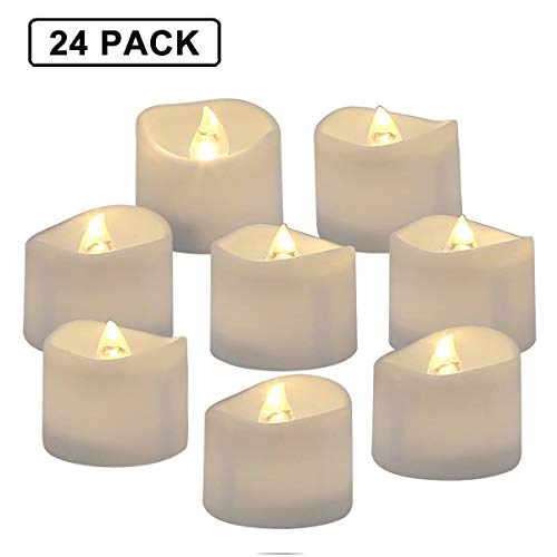 Flameless Votives Bulk (Homemory Battery Operated LED Tea Lights, Pack of 24, Flameless Votive Tealights Candle with Warm White Flickering Bulb light, Small Electric Fake Tea Candle Realistic for Wedding, Table,)
