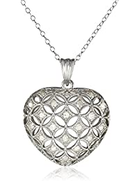"""Sterling Silver Diamond Heart Pendant Necklace (.5 Cttw, H-I Color, I3 Clarity), 18"""""""
