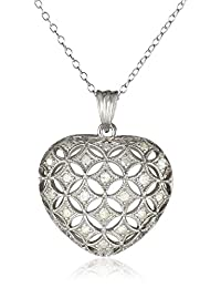 Sterling Silver Diamond Heart Pendant Necklace (.5 Cttw, H-I Color, I3 Clarity), 18""
