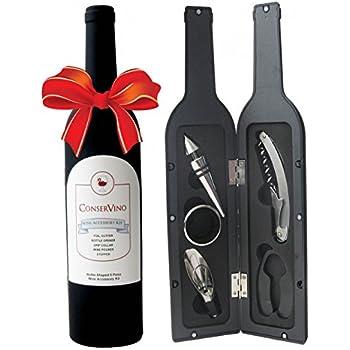 ConserVino 5 Piece Wine Gift Set Bottle Shaped Deluxe Accessory Kit Novelty Hostess Tool Kit Christmas Holiday Gift Bottle Opener Corkscrew Foil Cutter Pourer Stopper Drip Ring Collar Bar Set Supplies