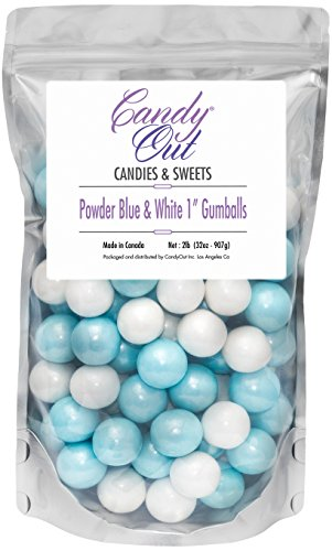 Powder Blue and White 1 inch gumballs 2lb in Stand-up (Blue White Gum)