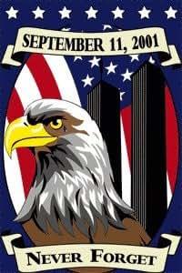 "24""x36"" nunca olvides 9/11jardín bandera Banner w/Polo manga 9119–11"