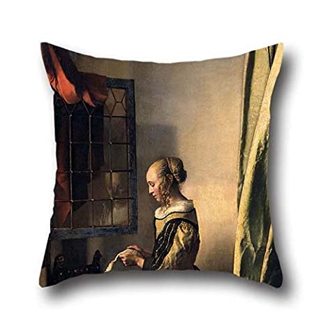 16 X 16 Inches / 40 By 40 Cm Oil Painting Johannes Vermeer - Girl Reading A Letter By An Open Window Throw Pillow Case ,twice Sides Ornament And Gift To Divan,bf,study Room,kids,study Room,play - Pansy Messenger
