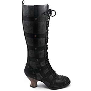 Hades Shoes H-Dome 2 inch Lace-up Retro Knee Boot