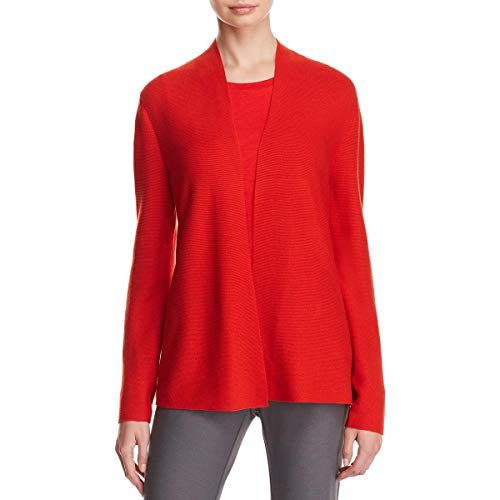 Eileen Fisher Womens Organic Cotton Rib Knit Cardigan Sweater Red M