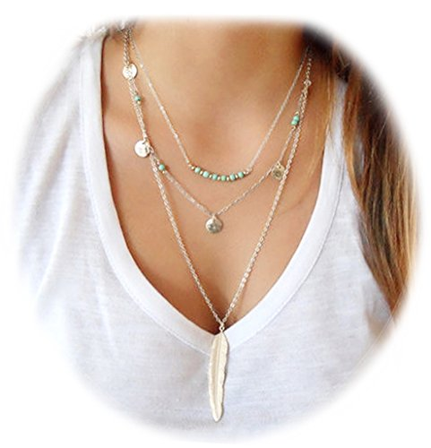 Suyi Exquisite Sequins Multilayer Chain Turquoise Beads Necklace with Feather Pendent Silver