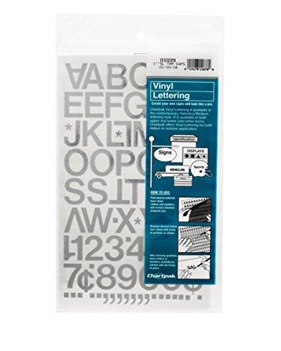 Letras y números de vinilo autoadhesivo Chartpak, 1 pulgada de alto, plateado, 88 por paquete (01039)