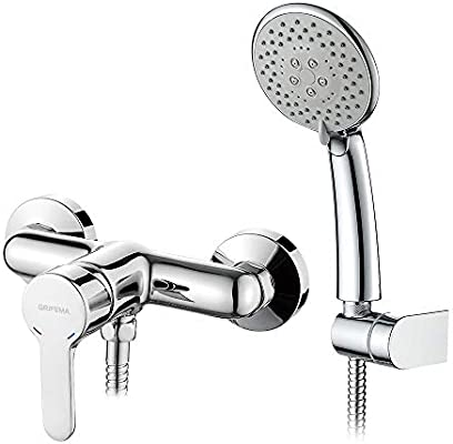 Grifema Porto G12003 Single Lever Bath Shower Mixer Tap With 1 5 M Hose Pipe Abs Shower Holder And 5 Function Shower Head And Eco Click 1 2 Inch Hose Chrome Amazon Co Uk Diy Tools