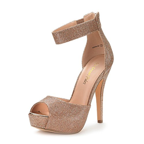 (DREAM PAIRS Women's Swan-05 Champagne High Heel Plaform Dress Pump Shoes - 9.5 M US)