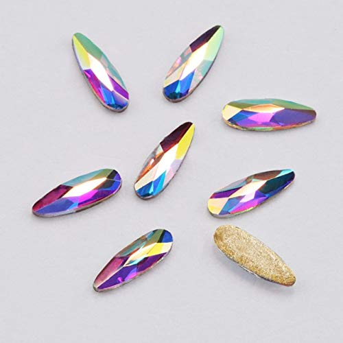 Nail Art Supplies Rhinestones For Nails Rhinestones For Crafts 20Pcs 2 x 6mm Flat Shaped Elongated Teardrop Glass Multicolor Colorful Stones For 3D Nail Art - Crystal AB